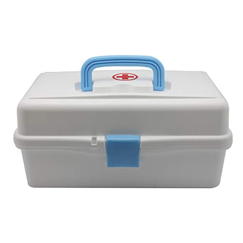 ic Two Tier Trays First Aid Storage Box Container Bin with Red Cross, Family Emergency Medicine Kit Case Organizer ()