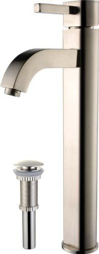 Kraus FVS-1007-PU-10SN Ramus Single Lever Vessel Bathroom Faucet with Matching Pop Up Drain Satin Nickel