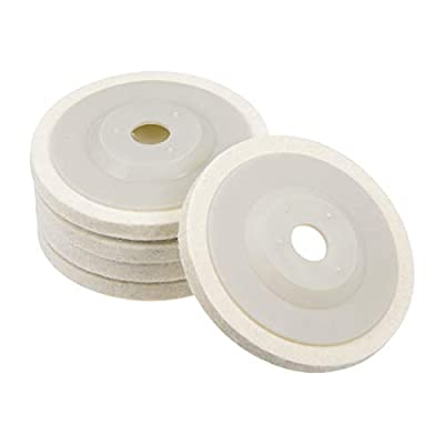 uxcell 4-Inch Compressed Wool Polishing Wheel Round Buffing Pads 5 Pcs: Home Improvement