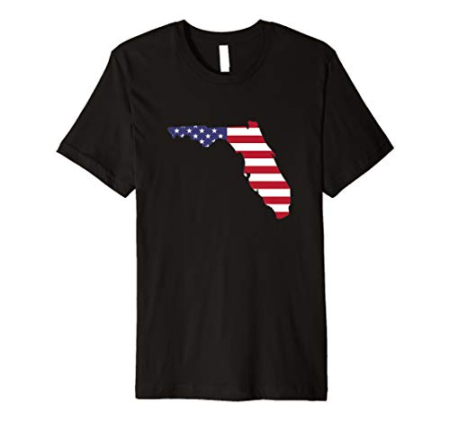 4th Of July Florida Outline American Flag Patriotic Party Premium T-Shirt