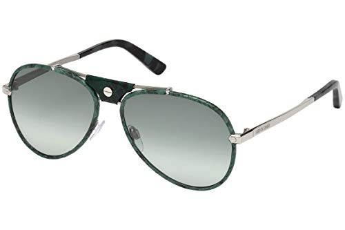 Roberto Cavalli CERRETO RC1042 - 16P Sunglasses shiny palladium frame w/ gradient green Lens ()