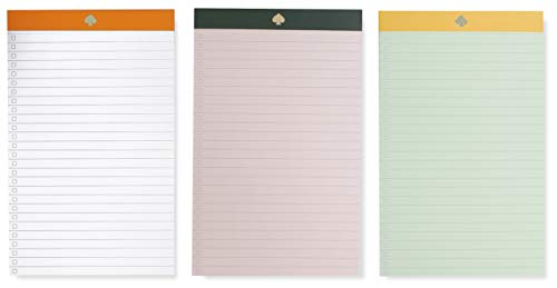 Kate Spade New York To-Do List Pad Set of 3, Includes 50 Lined Sheets Per Pad, Colorblock