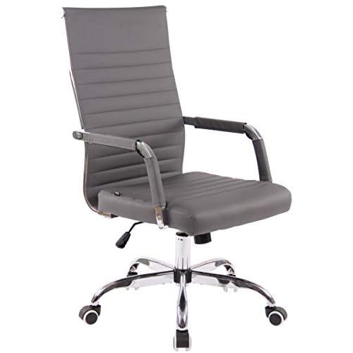 31C1CqQsFvL. SS500 AJUSTABLE: La silla de oficina Amadora cuenta con un mecanismo de balanceo en el respaldo que se ajusta con el adaptador de rosca ubicado debajo del asiento, allí se encuentra también la manivela que permite ajustar la altura de la silla. El asiento puede dar un giro de 360° y gracias a las ruedas de su base permite a la unidad deslizarse por diversas superficies. MATERIALES: La estructura de la silla así como la base están hechas de metal en efecto óptico cromado brillante. La silla cuenta con un tapizado en cuero sintético (100% poliuretano), dicho material es resistente y fácil de limpiar. Las ruedas de la base son de polipropileno suave, que permite rodar con facilidad. DIMENSIONES: La silla ejecutiva tiene las siguientes medidas aproximadas: Alto: 96-106 cm I Ancho: 51 cm I Profundidad: 63 cm I Altura del asiento: 43 - 51 cm I Superficie del asiento (AxP): 46 x 49 cm I Altura del respaldo: 58 cm I Altura del reposabrazos: 19 cm I Capacidad máxima de carga: 120 kg I Peso: 11 kg.