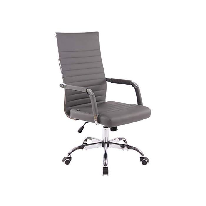 31C1CqQsFvL AJUSTABLE: La silla de oficina Amadora cuenta con un mecanismo de balanceo en el respaldo que se ajusta con el adaptador de rosca ubicado debajo del asiento, allí se encuentra también la manivela que permite ajustar la altura de la silla. El asiento puede dar un giro de 360° y gracias a las ruedas de su base permite a la unidad deslizarse por diversas superficies. MATERIALES: La estructura de la silla así como la base están hechas de metal en efecto óptico cromado brillante. La silla cuenta con un tapizado en cuero sintético (100% poliuretano), dicho material es resistente y fácil de limpiar. Las ruedas de la base son de polipropileno suave, que permite rodar con facilidad. DIMENSIONES: La silla ejecutiva tiene las siguientes medidas aproximadas: Alto: 96-106 cm I Ancho: 51 cm I Profundidad: 63 cm I Altura del asiento: 43 - 51 cm I Superficie del asiento (AxP): 46 x 49 cm I Altura del respaldo: 58 cm I Altura del reposabrazos: 19 cm I Capacidad máxima de carga: 120 kg I Peso: 11 kg.