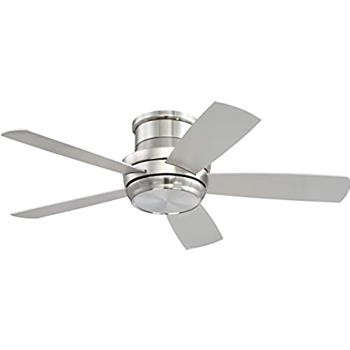 Low profile flush mount ceiling fan amazon craftmade tmph44bnk5 tempo 44 brushed polished nickel flush mount ceiling fan with led light remote aloadofball Images