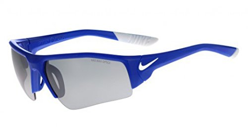 Nike Golf Skylon Ace XV Pro Sunglasses, Game Royal/White Frame, Grey with Silver Flash - Lenses Silver Flash