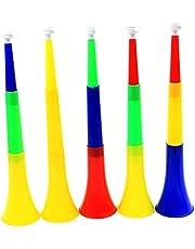 Noisemakers, Horn Noise Maker Adjustable Plastic Football Stadium Cheer Fan Trumpet Random Color 5pcs
