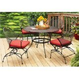 Better Homes and Gardens Clayton Court 5-piece Patio Dining Set, Wrought Iron Table and 4 Chairs, Red Cushions, Seats 4 For Sale