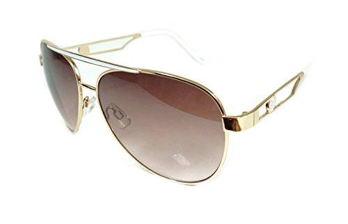 Jessica Simpson Metal Aviator Gold/White J558-GLDWH Womans - Sunglasses Simpson Jessica White