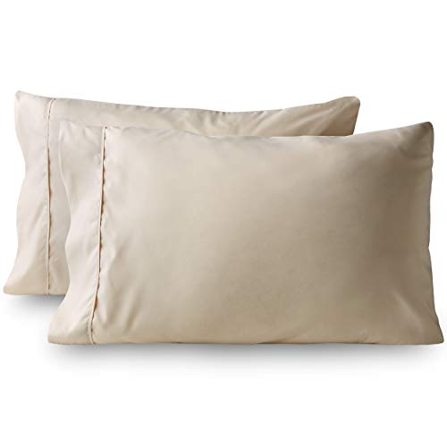 (Bare Home Premium 1800 Ultra-Soft Microfiber Pillowcase Set - Double Brushed - Hypoallergenic - Wrinkle Resistant (Standard Pillowcase Set of 2, Sand))