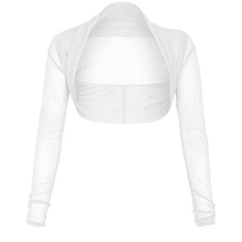 Nouveaux Femmes Grande Taille libres manches longues Bolro Bolro maille Cardigan 36-50 Blanc