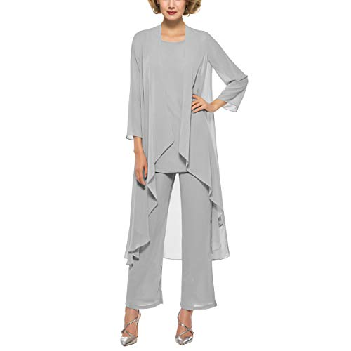Dressy Evening Suit - 3 Piece Mother of The Bride Outfit Pants Suits Chiffon Long Sleeve Dressy Pantsuits (Silver 16)