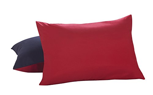Lux Hotel Bedding Reversible Microfiber Pillow Shams - Navy/Red, Standard/Queen, 2 - Sham Standard Red