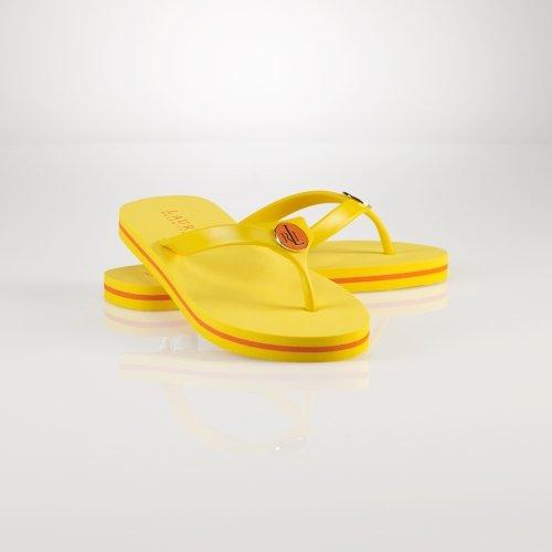 Lauren Ralph Lauren Women's Elissa II Flip Flop,Bright YellowBirght Orange ,6