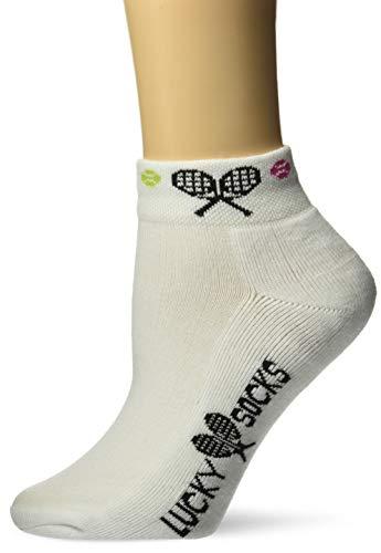 Lucky Match Socks - K. Bell Women's Met My Match Tennis Novelty Low Cut Athletic Socks, Raquet (White), Shoe Size: 4-10