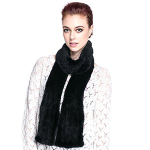 URSFUR Winter Knit Mink Bell Bottom Pull Through Scarf by URSFUR