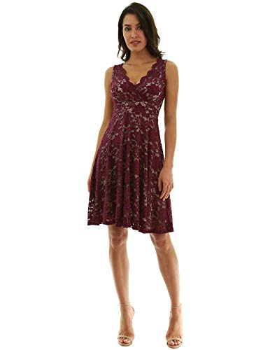 (PattyBoutik Women Floral Lace Overlay Fit and Flare Dress (Magenta and Beige)