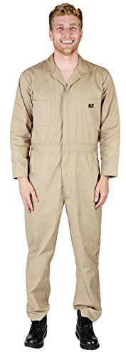 (NATURAL WORKWEAR - Mens Long Sleeve Basic Blended Coverall, Khaki)
