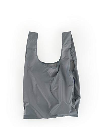 BAGGU Standard Reusable Shopping Bag, Ripstop Nylon Grocery Tote or Lunch Bag, Recycled Gray ()