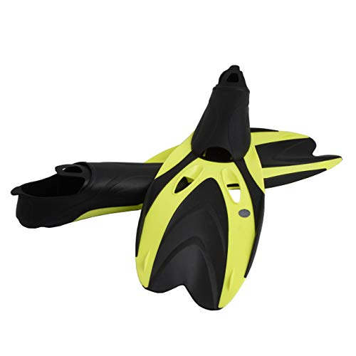 Adults Professional Diving Fins Full Foot Silicone Adjustable Scuba Swim Shoes Submersible Snorkeling Feet Monofin Diving Flippers (Yellow, L(9.5-11.5)) -