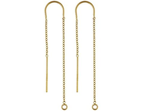 1 Pair Threader Earrings 14K Gold Filled, U threader Ear Threads Cable Chain Drop with ring 3.5