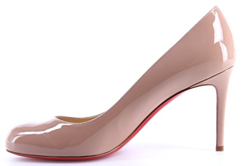 Decollete Christian Calf Nude Femmes Pump 85 Louboutin Simple Patent Chaussures qwRUv