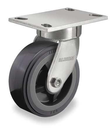 Kingpinless Swivel Plate Caster, Polyurethane, 900 lb