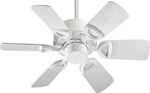 (Quorum International 143306-6 Estate 6-Blade Patio Ceiling Fan with White ABS Blades, 30-Inch, Gloss White Finish)