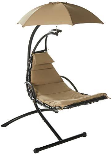 Island Umbrella Island Retreat Hanging Lounge W/Shade Canopy, Khaki (Island Retreat Terra Cotta)