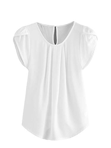 Milumia Women's Casual Round Neck Basic Pleated Top Cap Sleeve Curved Keyhole Back Blouse White X-Large