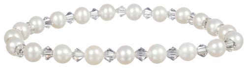 (White Freshwater Cultured Pearl and Crystallized Swarovski Elements April Birthstone Crystal Colored Bicone Stretch Bracelet,)