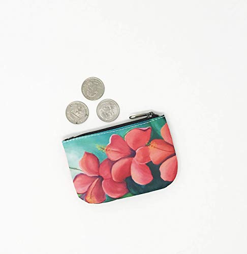 Coin Purse Hibiscus Red Hawaiian Credit Card Business Card Holder Jewelry Pouch