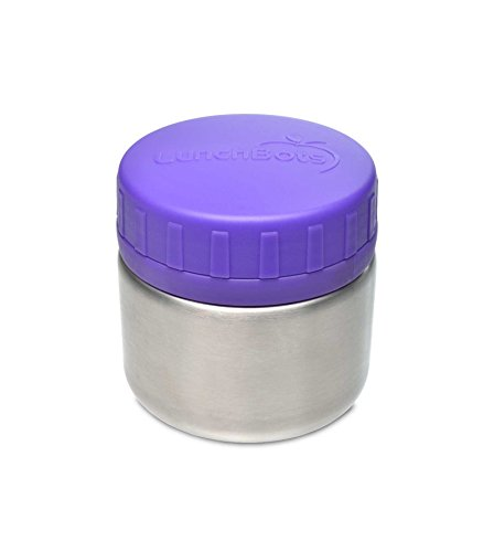 LunchBots Rounds Stainless Steel Food Container (8 oz) - Leak-Proof Food Jar for Lunch, Yogurt, Snacks and Sides - Eco-Friendly, Dishwasher Safe and BPA-Free - Purple