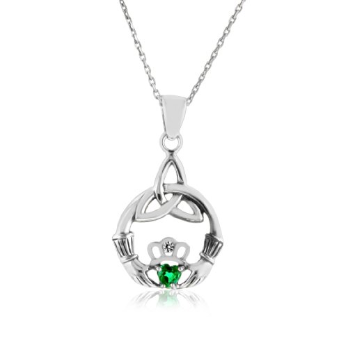 1/4 Carat Emerald & White Sapphire Claddagh Celtic Knot Pendant in Sterling Silver with 18