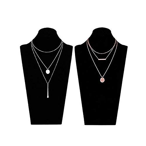 (LIAO Jewelry 2 Pcs Bohemia Layered Necklace Set Multilayer Choker Necklaces Simple Coin Bar Pendant Station Chain Necklace for Women (Rose Gold + Silver))