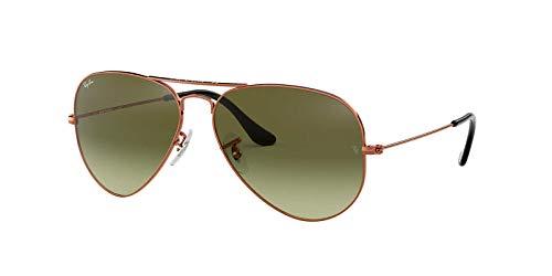 (Ray-Ban Men's Aviator Large Metal Sunglasses, Shiny Medium Bronze, 55 mm)