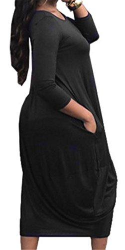 Cromoncent Plus La Taille Des Femmes Des Col Rond Manches Longues Plage Noire Plissée Robe Longue