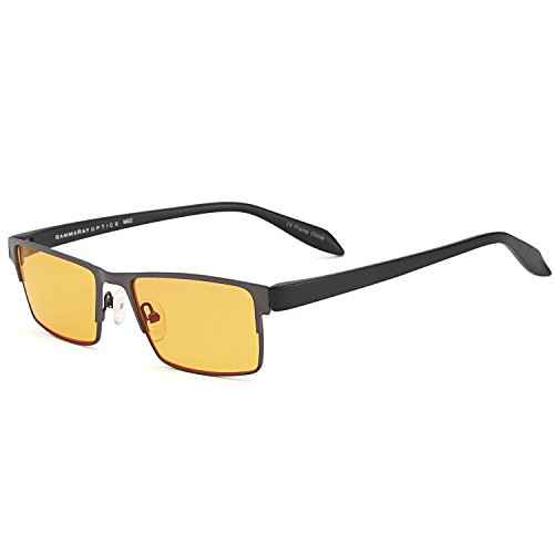 GAMMA RAY 009 Better Sleep Night Time Screen Glasses Blue Light Blocking Orange Lens for Computer Gaming TV Screen Viewing - 2.00x - Popular Men Most For Frames Glasses