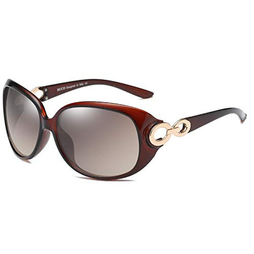 DUCO Shades Classic Oversized Polarized Sunglasses for Women 100% UV Protection 1220 -