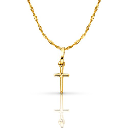 14K Yellow Gold Plain Cross Pendant with 0.9mm Singapore Chain Chain Necklace - (14k Gold Plain Cross Necklace)