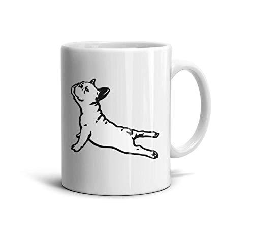 - LOUTRTDF French Bulldog Yoga French Bulldog Art Mans and Womens 11oz Coffee Mugs Fun Wife Cup