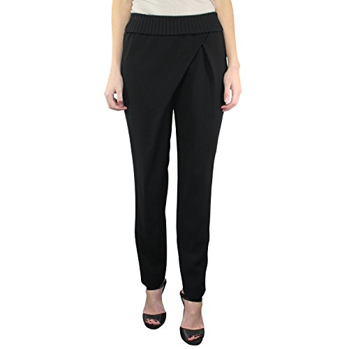 Lafayette 148 New York Womens Finesse Crepe Barclay Wrap Pant Black (Barclay Pant)