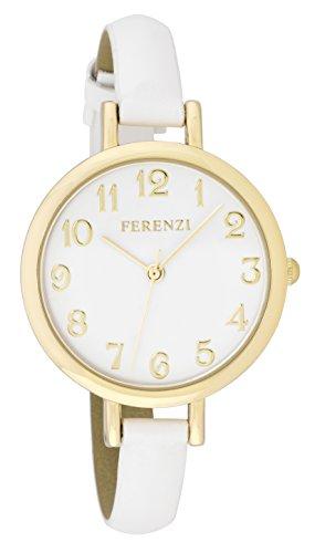 Ferenzi Women's | Elegant Large White Face Gold Watch with Thin White Band | FZ15503