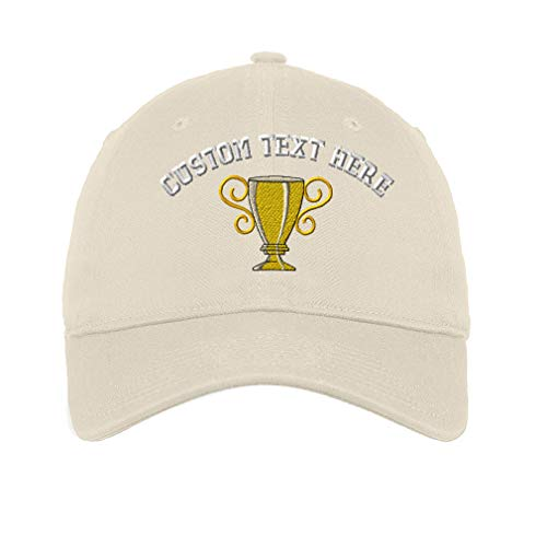 Custom LowProfileSoft Hat Trophy Cup Embroidery Design Cotton Dad Hat Flat Solid Buckle Stone Personalized Text Here
