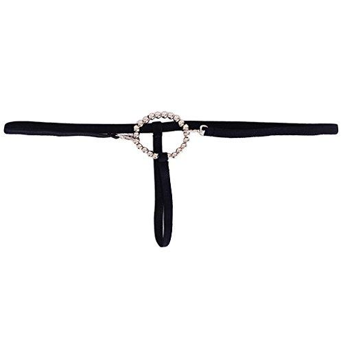 Beaded Rings Men's (Homyl Hot Men's G String T Back Thong Underwear with Beaded Ring - Black, as Described)