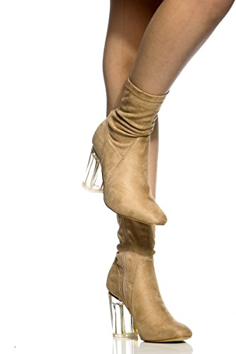 Cape Robbin Fay-1 No Frontin Glass Heel Stretch Ankle Boot (11, Nude Suede)