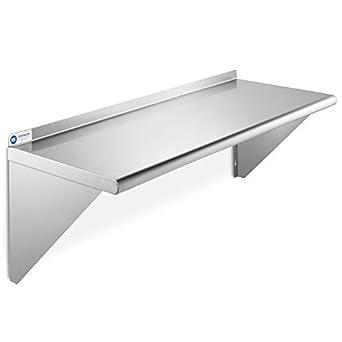 Amazon Com Gridmann Nsf Stainless Steel 14 X 36 Kitchen Wall Mount Shelf Commercial Restaurant Bar W Backsplash Industrial Scientific