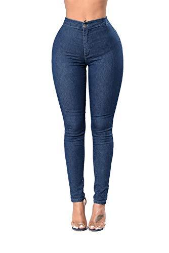 DAMENGXIANG Jeans Ajustados Femeninos Nueva Moda Pantalones Finos De Alto Elástico Azul Marino