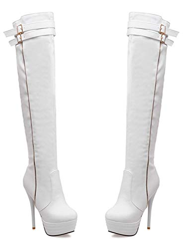 Thigh Over Vitalo Women Ladies Heel Platform Buckle High White The Knee Tall Boots Stiletto Boots rnxExqvX