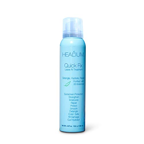 Quick Fix Leave In Conditioner Lightweight Weightless Detangling, Smoothing, Hydrating, Conditioning, Moisture Lock Rescue Repair Blowout Spray Sunscreen Lotion, 4.67 oz, by Healium Hair